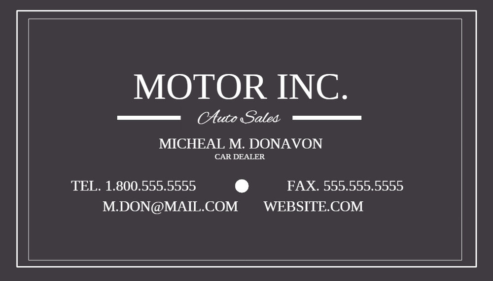 Motor inc business card template