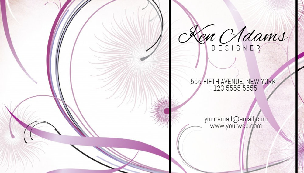 White and pink business card design