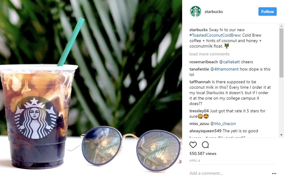 Starbucks showcases new products on their Instagram page with great visuals.