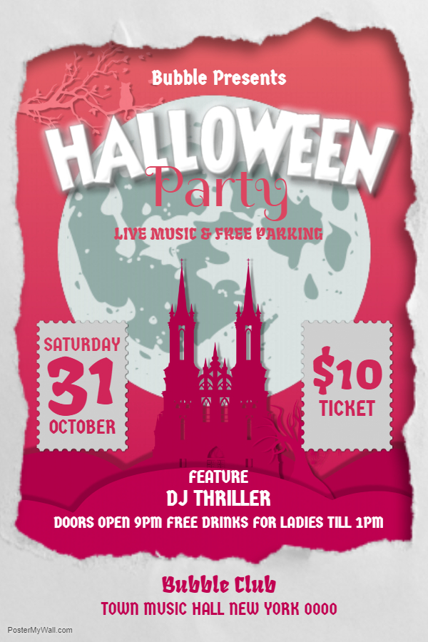 Pink and white Halloween castle flyer