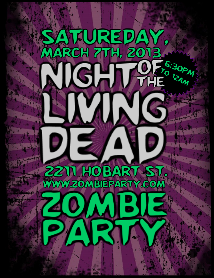 Zombie party typographic flyer
