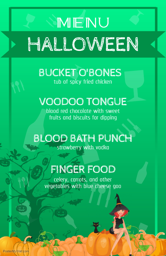 Green Halloween menu