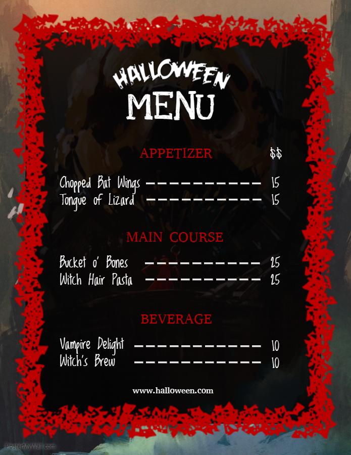 Halloween menu red