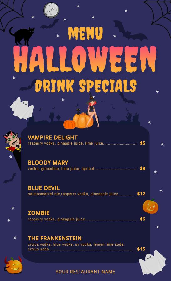 Halloween cocktail menu