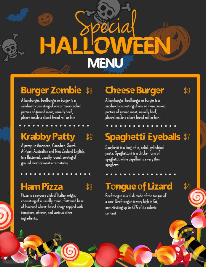 Kids Halloween menu