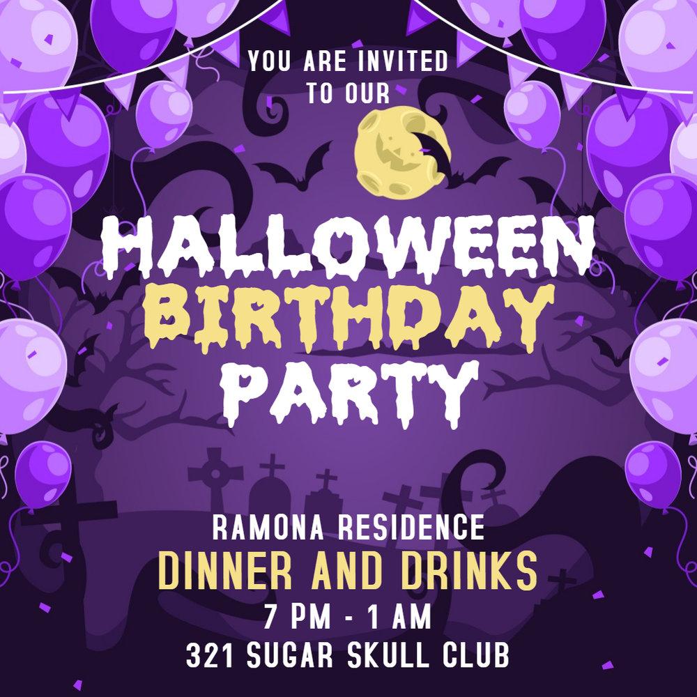 Purple kids party invitation