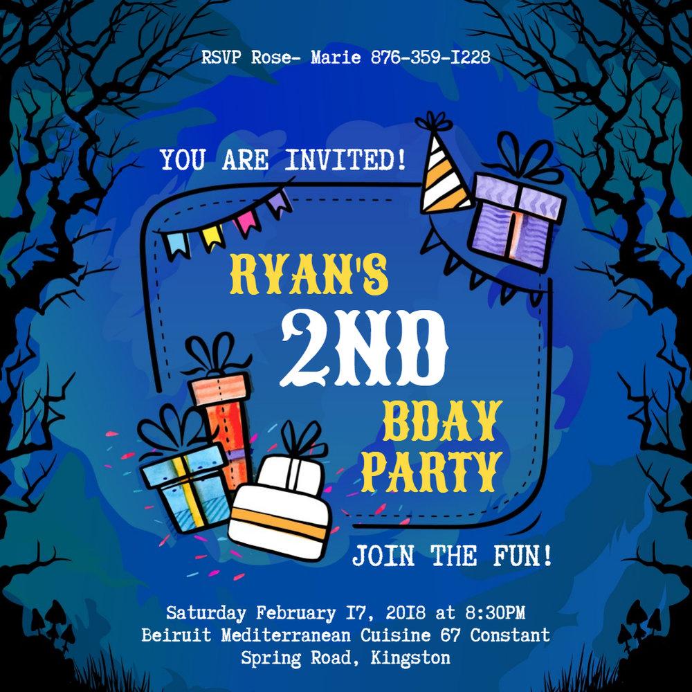 Blue kids birthday invitation