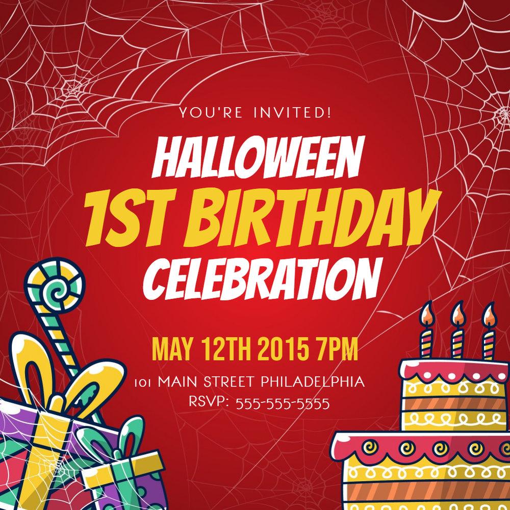 Red Kids birthday invitation