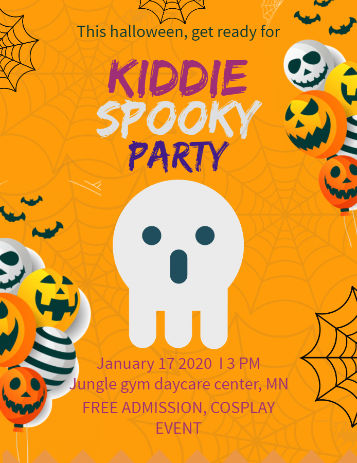 Cute Halloween kid's party flyer
