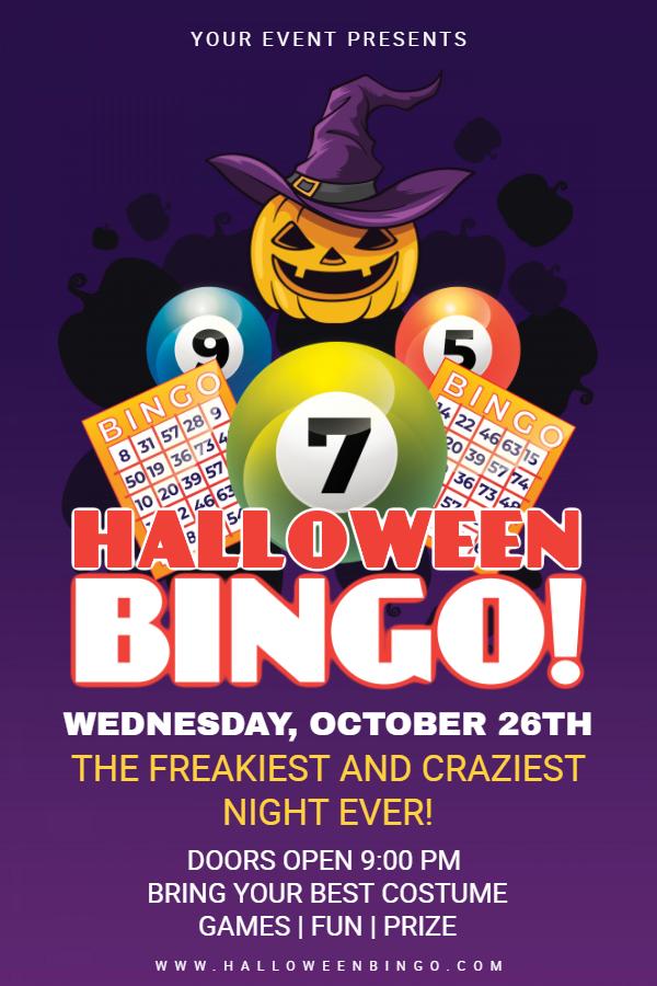 Purple Halloween bingo poster