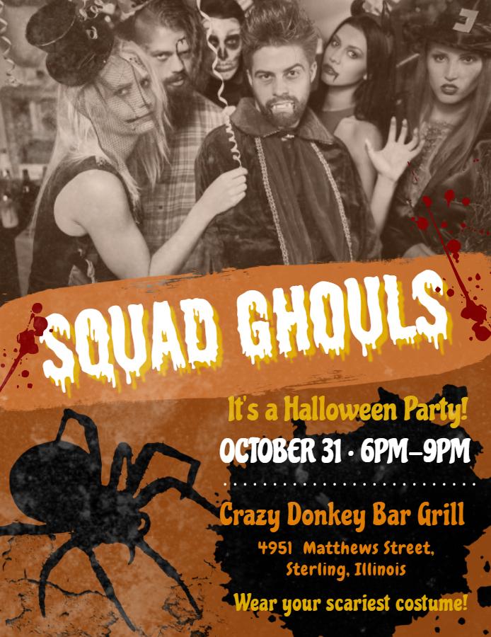 Halloween teenage party flyer