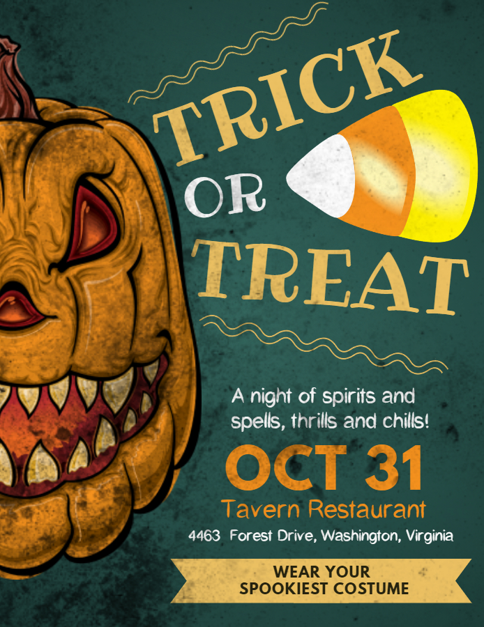 Trick or Treat flyer design template