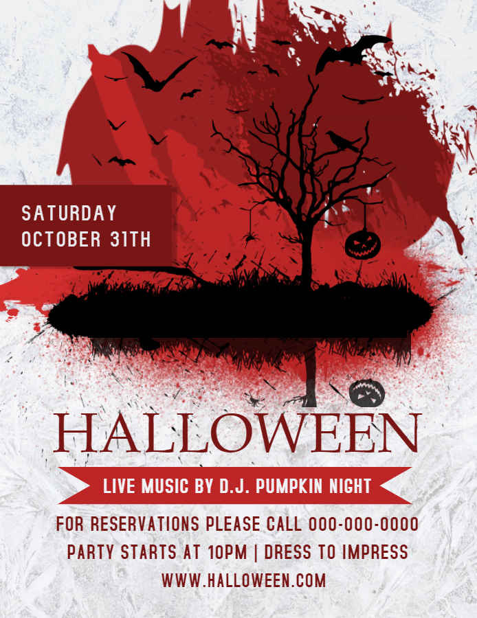 White and Red Halloween flyer