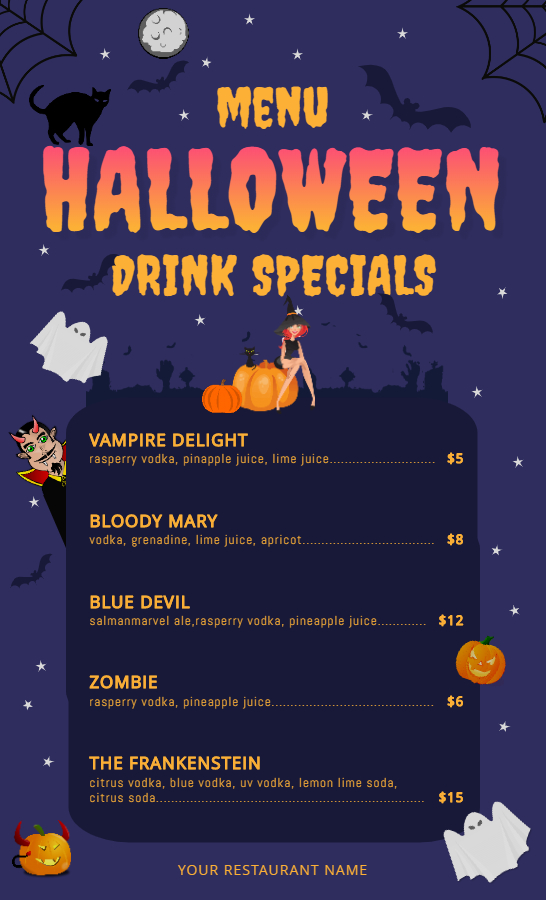 Halloween drinks menu