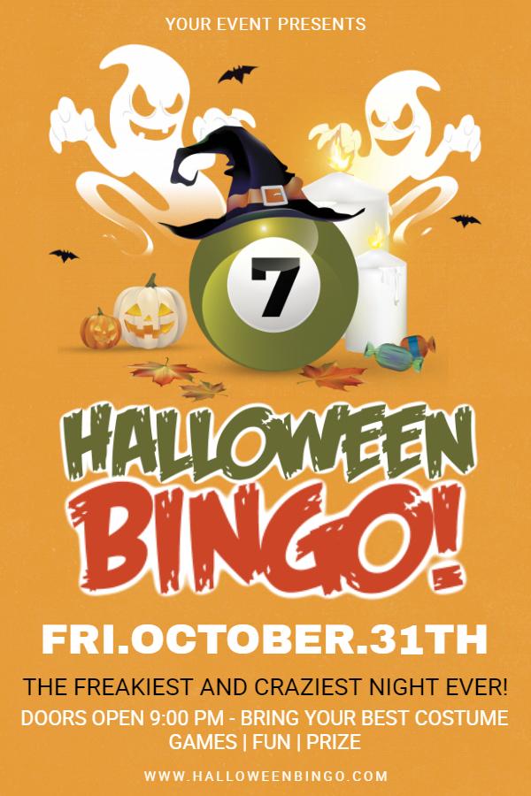 Halloween bingo party flyer