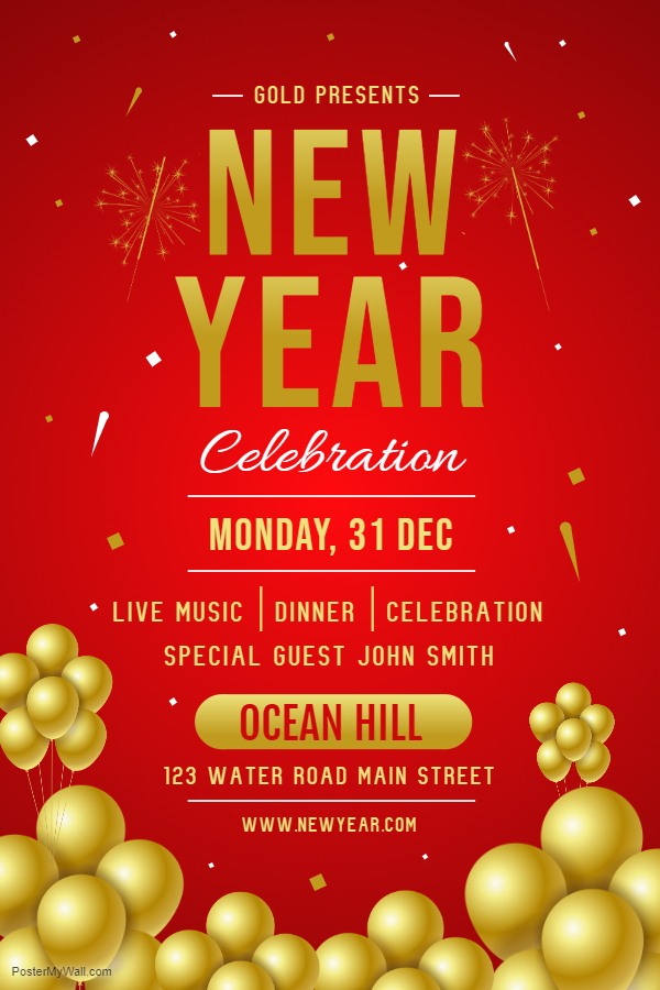 New Year Party Glossy Red Poster