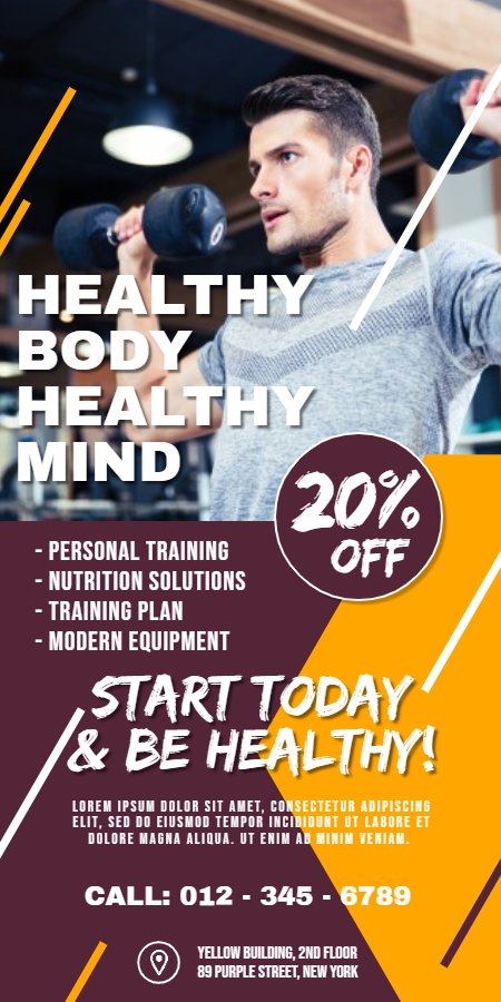 Gym fitness roll-up banner