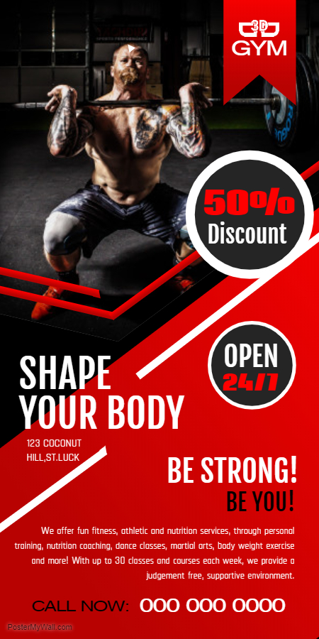 Gym advertisement roll-up banner