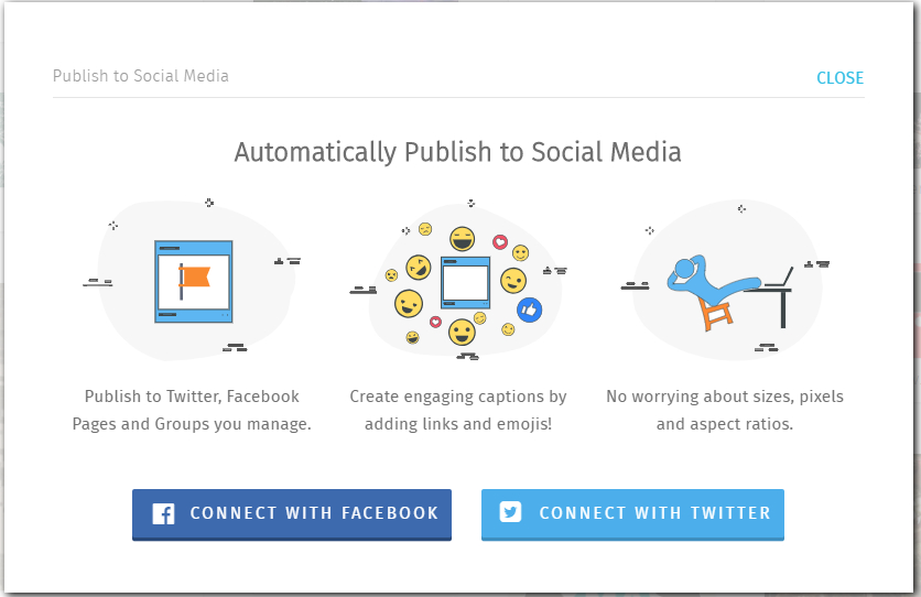 Get started by connecting to Facebook or Twitter. You will be able to connect to other networks later, as you go.