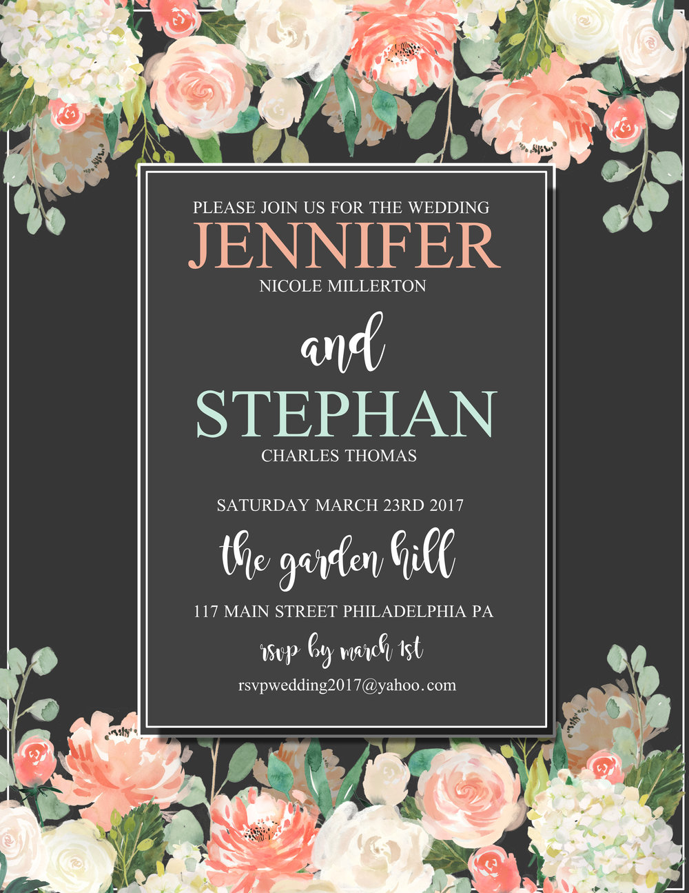 Black save the date invitation template