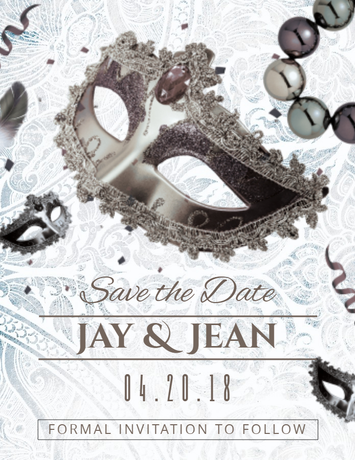 Save the date masquerade invitation