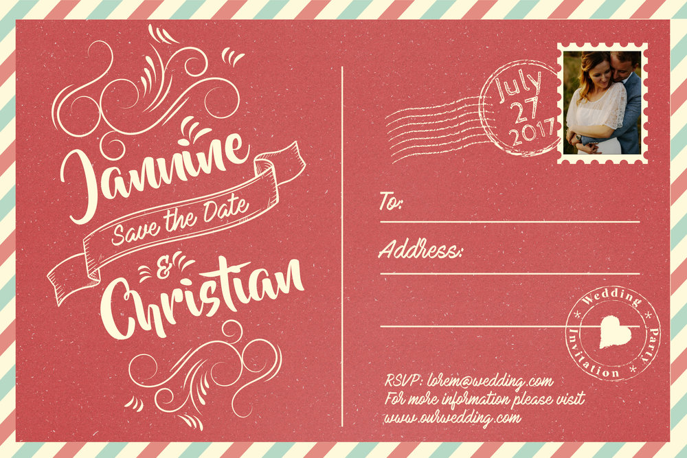 Save the date vintage invitation