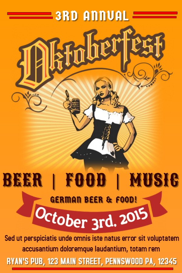 Oktoberfest party music beer flyer