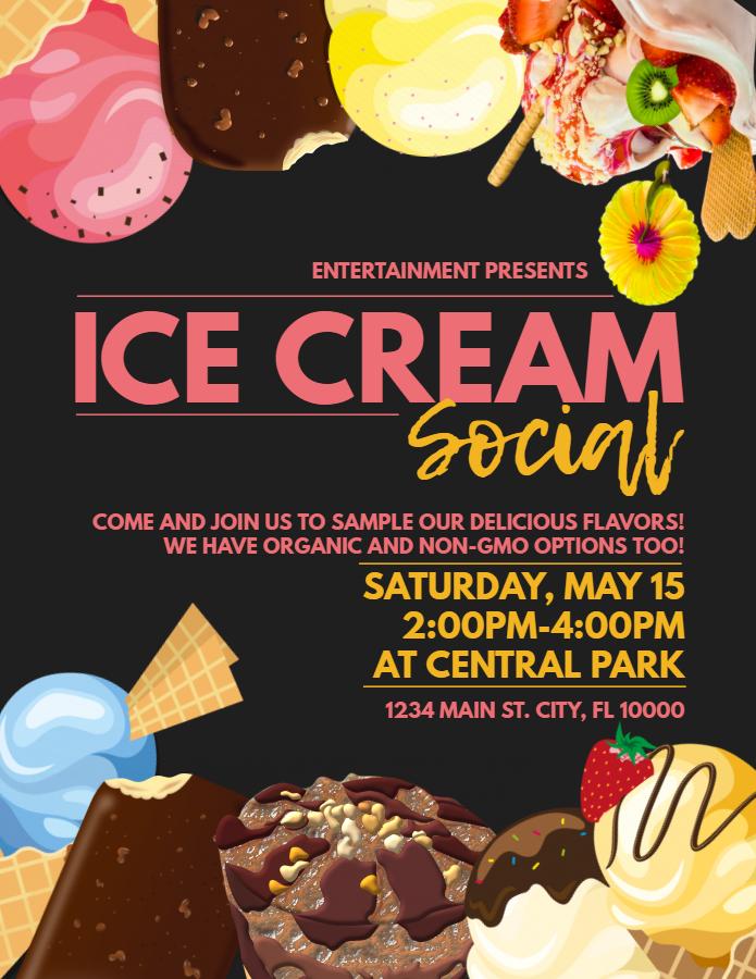 Ice cream social flyer - black