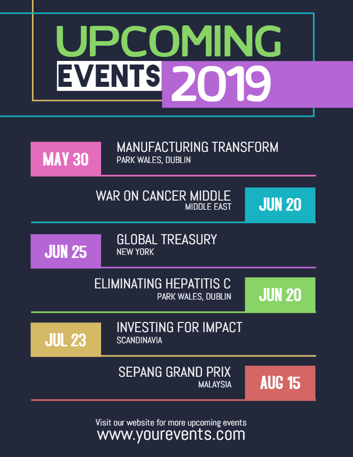 Upcoming events 2019 flyer