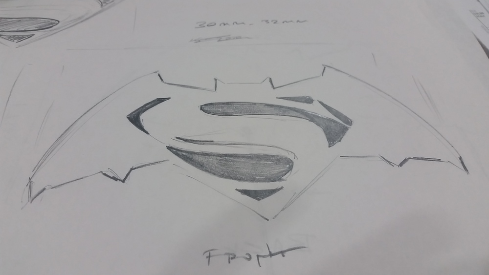 First Draft Sketch of Batman v Superman Logo
