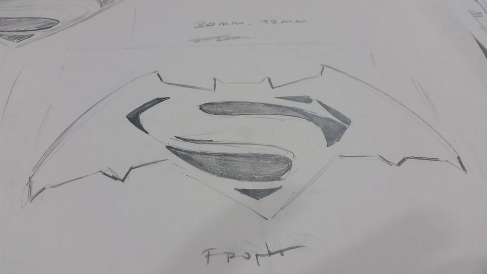 First Draft Sketch of Batman v Superman Logo