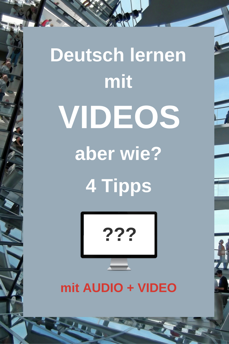 "How to learn German with Videos? |Videos can be a great help when learning a language. But how to work with videos? Here are four actionable tips that will make your life much easier. In the video you practice these tips and do some grammar revision along the way: main clauses with ""deshalb"". Click through to read the post and watch the video."