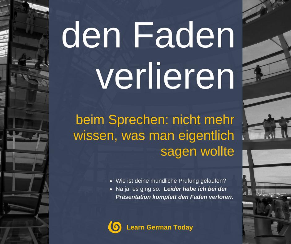 Deutsche Redewendungen: Den Faden verlieren