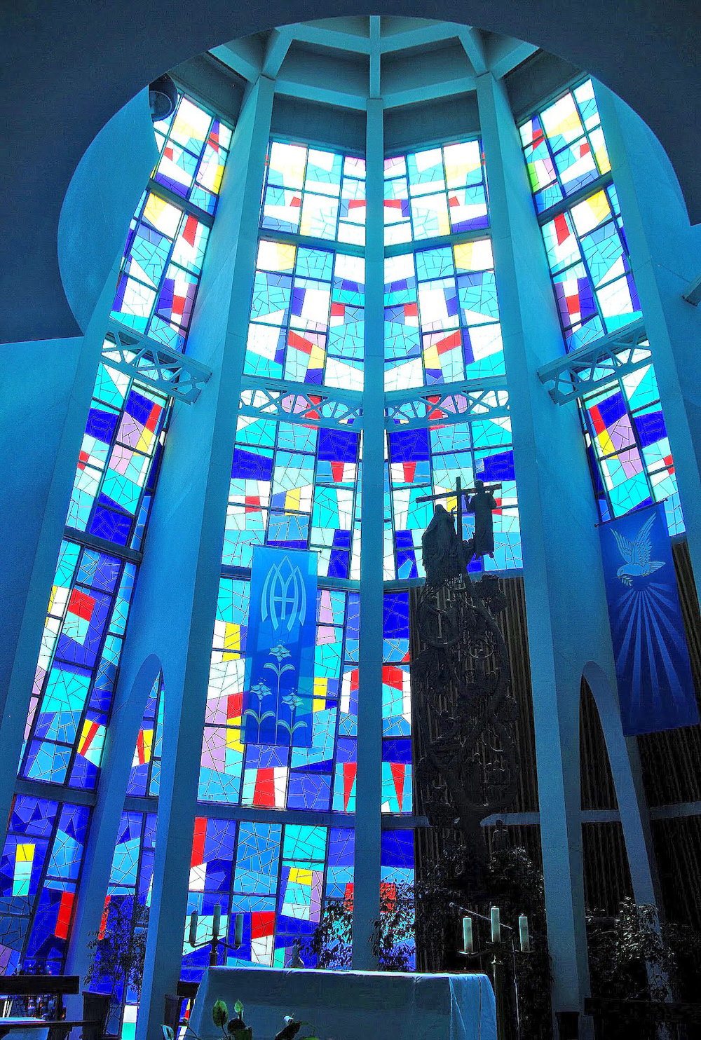 In 1964, the newly completed Shrine church with its 100 foot stained glass tower was recognized for the poetry of its conception and the quality of its acoustics. Click on the image for a larger view. Photo: Barry Wallace