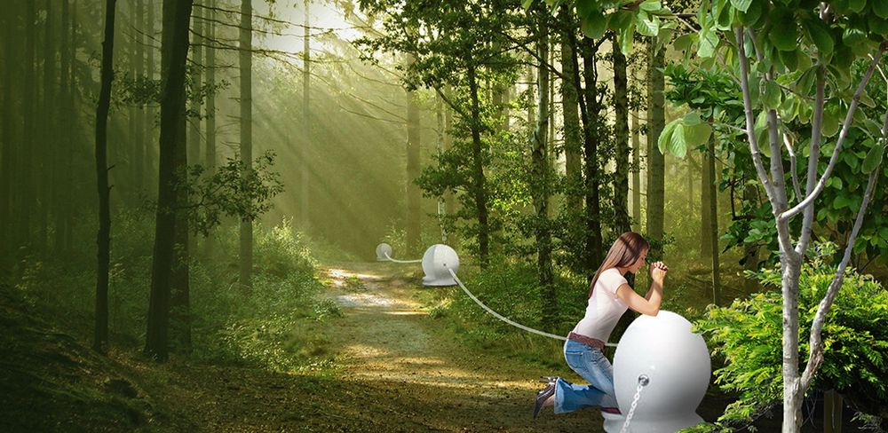 We plan to plant trees along the Rosary Path to provide shade and ambience, as indicated in this artist's rendering. Click on the image for a larger view.