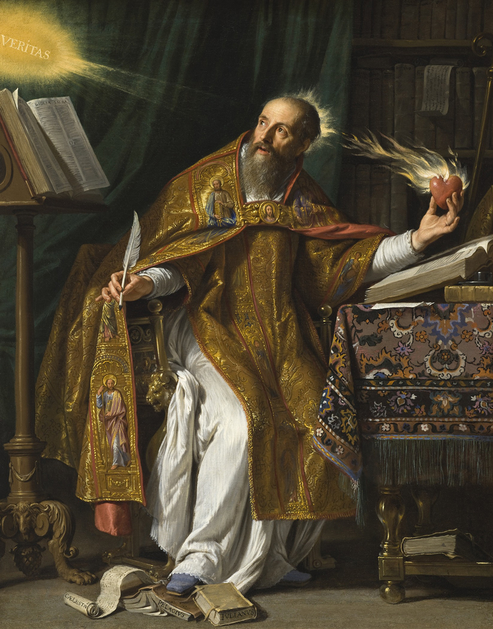 Saint Augustine, by Philippe de Champaigne, 1650. In this painting, the Flemish artist Philippe de Champaigne portrays Augustine in his studio. In one hand Augustine holds a feather pen, and in the other, a flaming heart. The flaming heart – a heart on fire for God – was one of Augustine's traditional attributes.