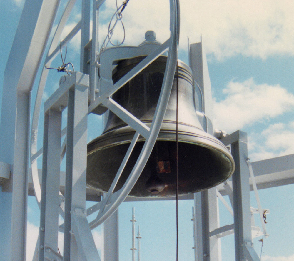 The 2500 lb. bell at the top of the shrine will be restored to its original timbre and splendour. Click on the audio file below to hear the bell ring.