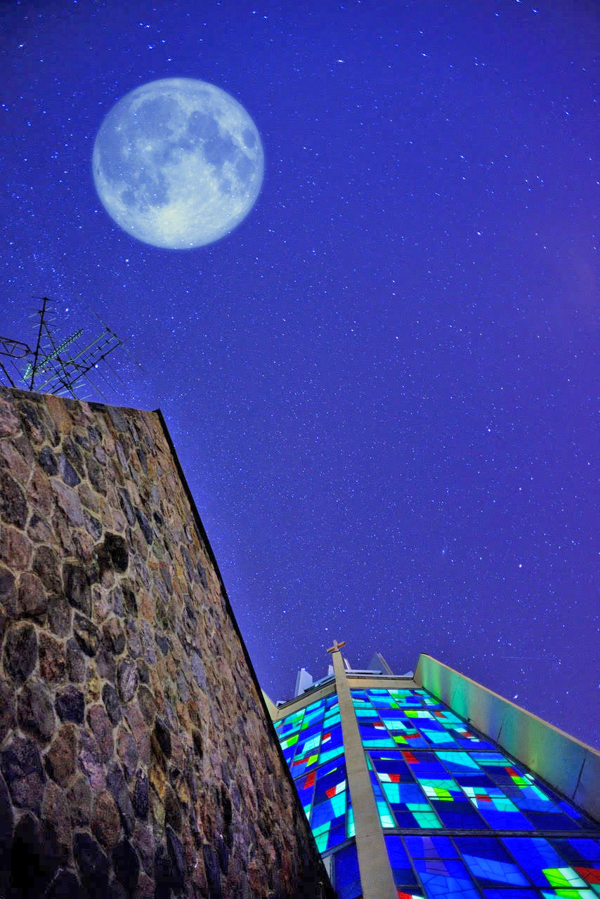 Marylake Shrine against a starry night sky. Click on the image for a larger view. Photo: Jonald Arcasitas
