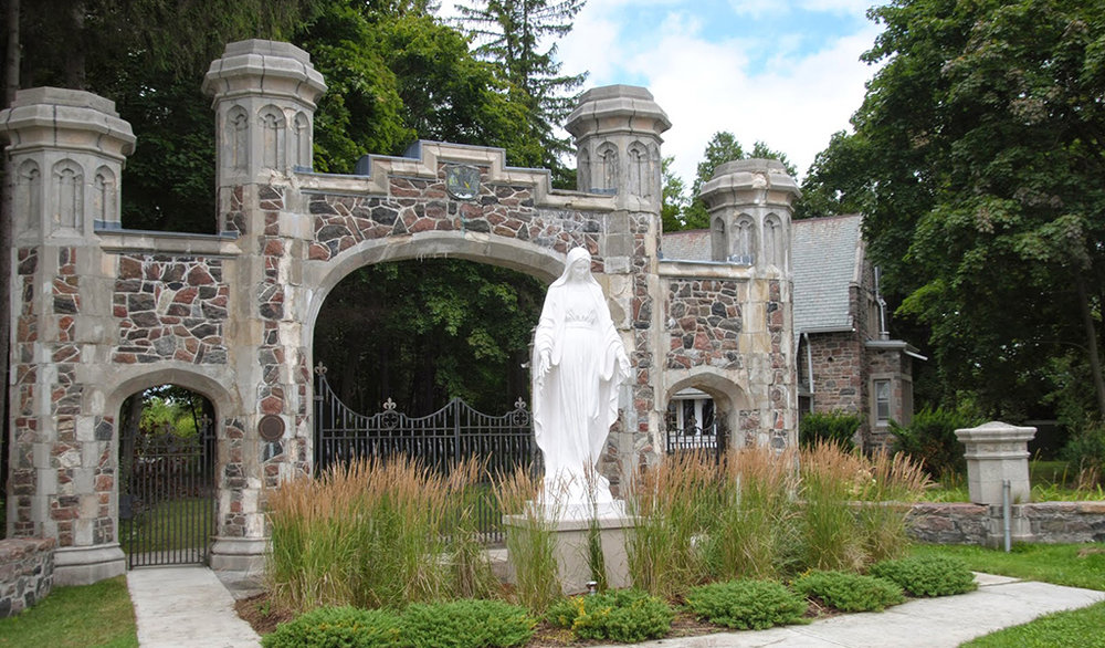 The statue of Mary at the front gate to Marylake. Click on the image for a larger view.