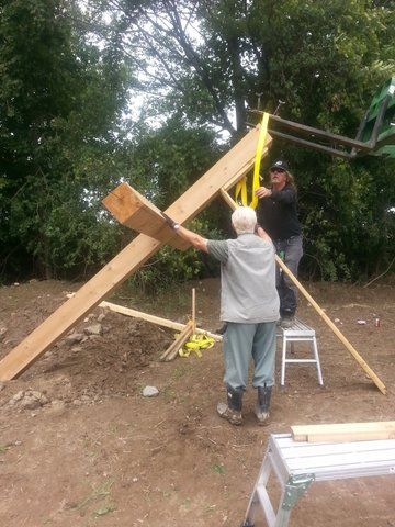 Ted and Terry Harasti with crew installing the 15 Crosses.