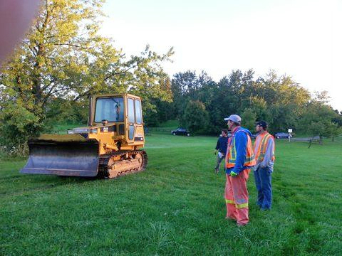 King Cross Contracting arrive with three large earth moving machines (donated for over 4 yrs.) and their foreman, Vito and crew to begin cutting the Rosary Path way.