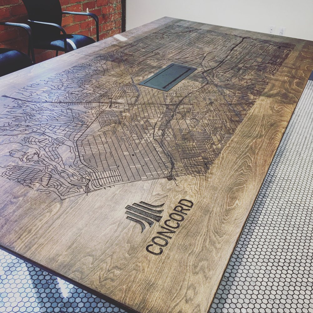 CONCORD REAL ESTATE Laser engraved map conf. table