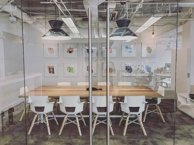 "Conference room coming together for new client in Santa Monica. Conf table by @4thperiodwoodshop Shortcut stools by @myturnstone and 30"" Angelo cone pendants by @rejuvenation"