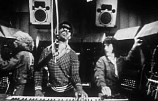 Left to right : Malcolm Cecil, Stevie Wonder, and Robert Margouleff at Record Plant Studios
