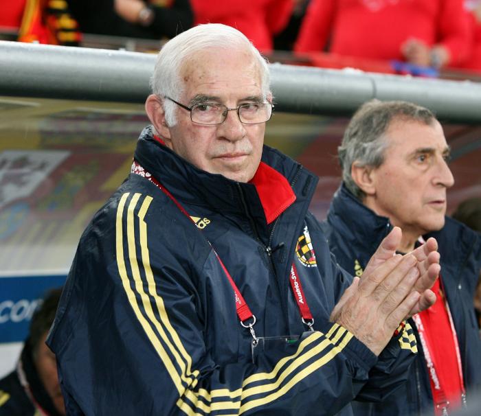 Luis Aragonés ved EM 2008 i  Schweiz og Østrig som Spanien endte med at vinde. Foto: U llstein Bild - Getty Images.