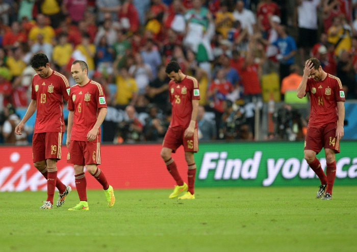 Et bittert farvel til Spanien efter blot to kampe ved VM i Brasilien. Foto:Anadolu Agency - Getty Images.