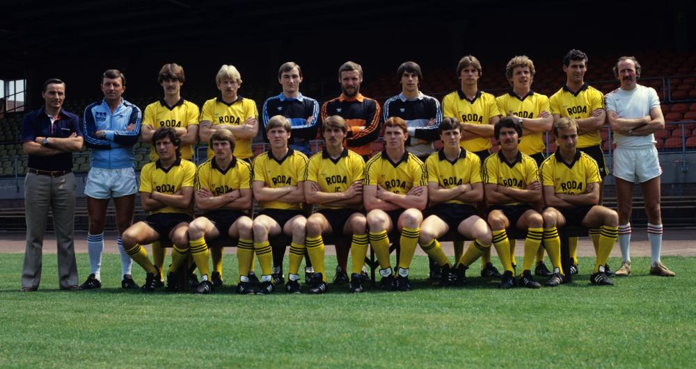 Rodas hold i 1981. John Eriksen sidder som en flot treer fra venstre på forreste række.   Foto: Getty Images