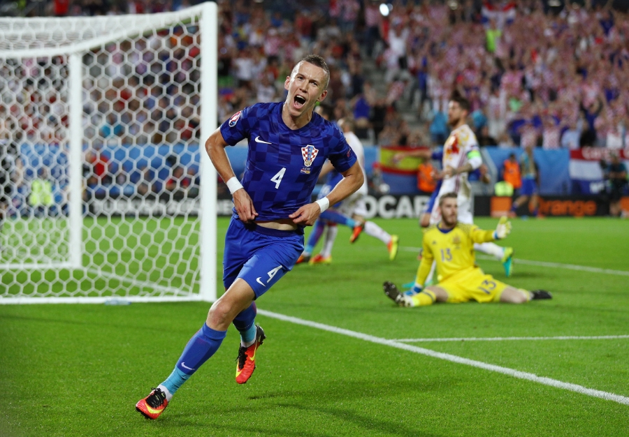 Kroatiens Ivan Perisic scorer sejrsmålet mod Spanien. Han kan være fremtidens afslutter. Foto: Ian Walton/Getty Images