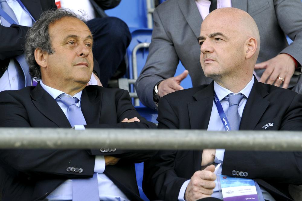 Michel Platini side om side med sin mest loyale medarbejder i flere år, Gianni Infantino. Foto: Getty Images/Harold Cunningham.