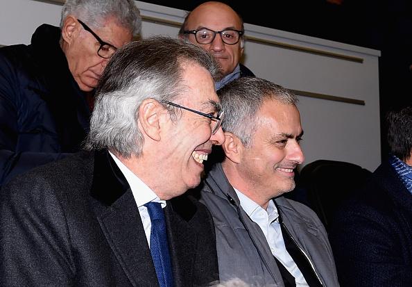 Den nu tidligere ejer og præsident, Massimo Moratti, i selskab med mestertræner Jose Mourinho. Foto: Getty Images/Claudio VIlla.